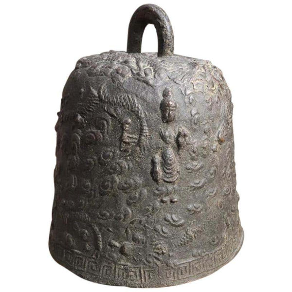 """Japanese Antique """"Guanyin & Dragons"""" Hand Cast Bronze Temple Bell"""
