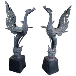 "Elegant Pair Antique Bronze Soaring Birds ""Hong"""