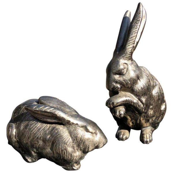 Pair of Big Hand Cast Bronze Playful Rabbits