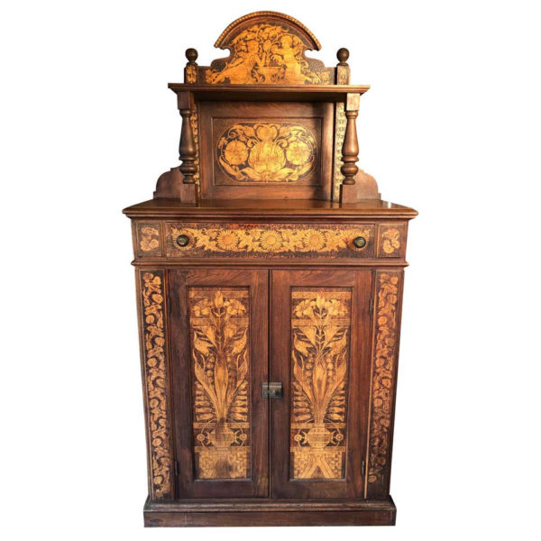 """Hand Crafted """"CHERUBS"""" Aesthetic Walnut Serving Cabinet"""