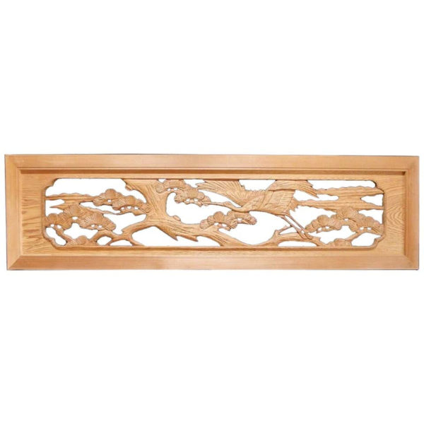 """Antique Hand Carved """"Flying Crane & Trees"""" Screen"""