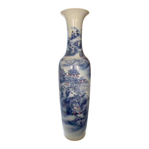 Tall Monumental Hand painted Blue & White Palace Vases