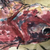 Antique Hand Painted Scroll Fresh Red Snapper
