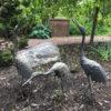apan Three Antique Hand Cast Bronze Cranes Beautiful Head & Feather Details