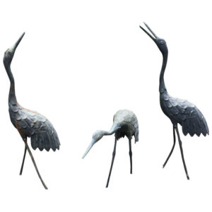 apan Three Antique Hand Cast Bronze Cranes Beautiful Head & Feather Details