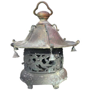 "ntique Bronze ""Bells & Dragons"" Garden Lantern, 100 Yrs Old"