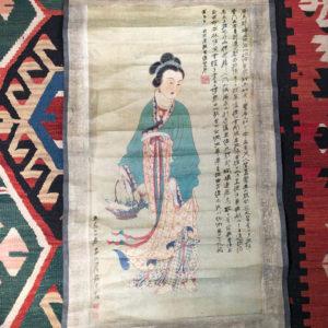 """Beautiful Bijin"" Geisha Hand Painted Scroll"