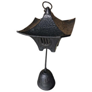 "Japanese Large Hand Cast ""Mountain Lantern"" and Wind Chime"