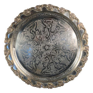 "Morocco Big Old Hand Hammered & Engraved ""Flowers Galore"" Silver Party Tray"