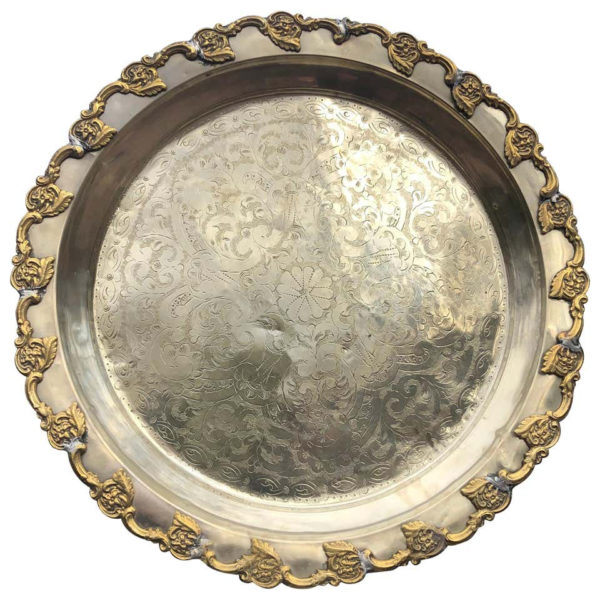 """Hand Hammered & Engraved """"Flowers Galore"""" Silver Party Tray"""
