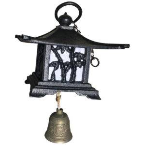 "Japanese Large Antique ""Mountain Lantern"" and Wind Chime"