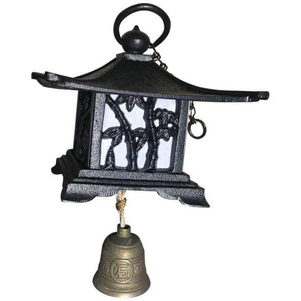 """Japanese Large Antique """"Mountain Lantern"""" and Wind Chime"""