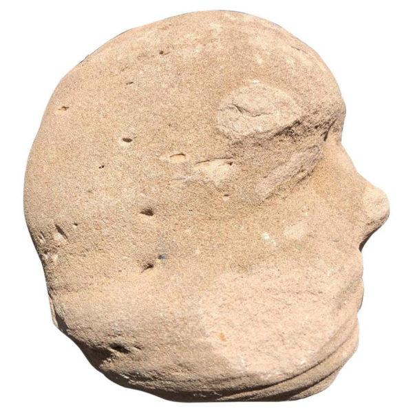 Native America Old Natural Stone Human Head Effigy Sculpture