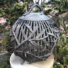 "Japanese Antique Bronze ""Bamboo Sphere"" Garden Lantern"