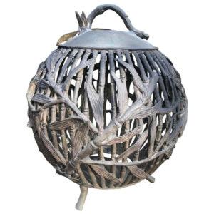 "Japanese Antique Bronze ""Bamboo Sphere"" Garden Lantern"
