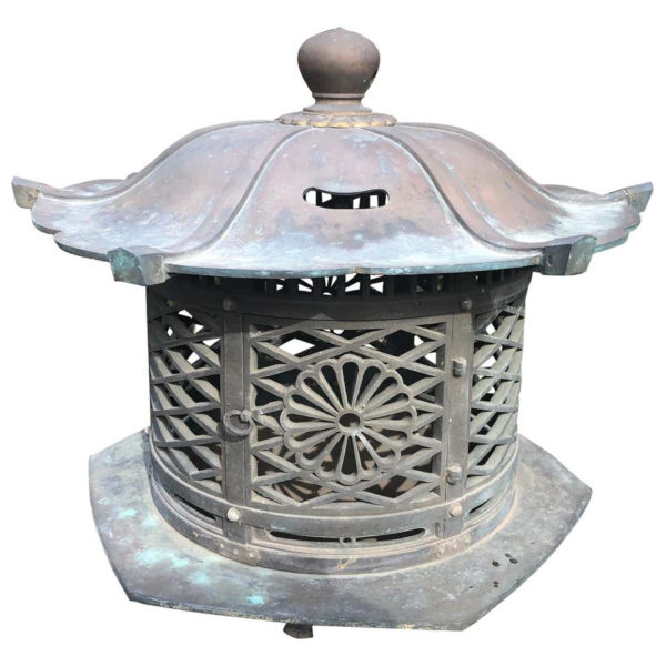 "Antique Bronze ""Imperial Chrysanthemum"" Garden Lantern"