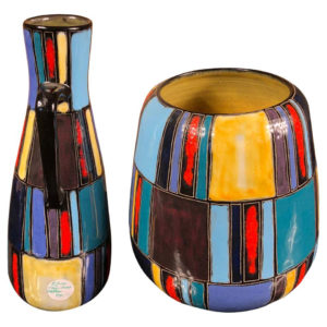 Lu Klopfer Pair Colorful Handmade and Hand Glazed Art Vessels