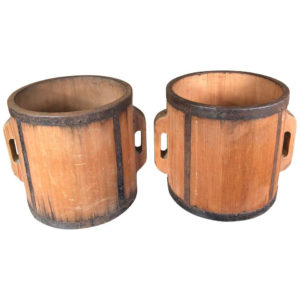"Antique ""Signed Pair"" Wood Rice Measures"