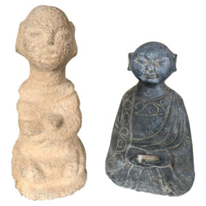 "China Pair of Small Hand Carved Stone ""Human Effigy"" Figure Sculptures"