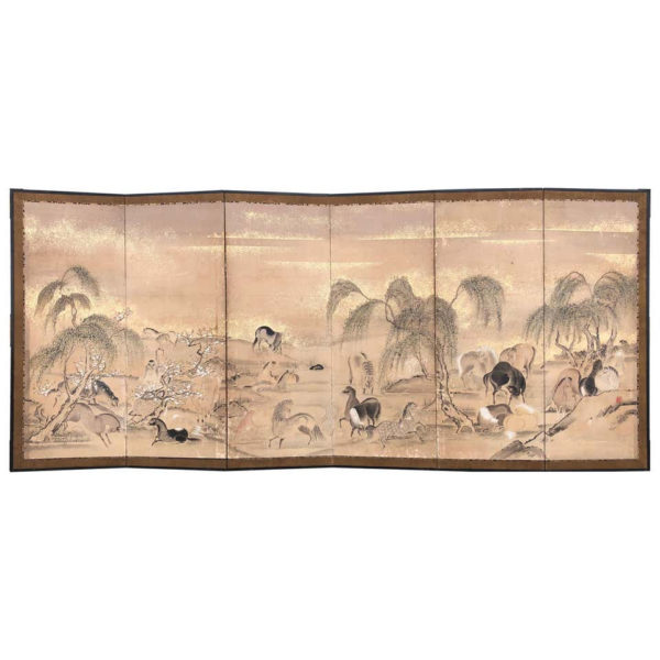 Japanese 20 Horses Fine Antique Six-Panel Screen, Edo Period
