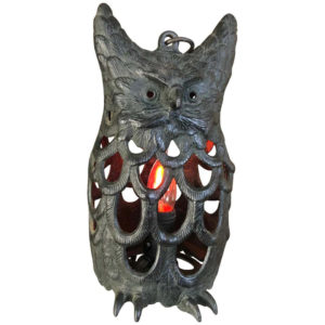 "Japanese Big Old ""Owl"" Electrified Lighting Lantern, 1930s"