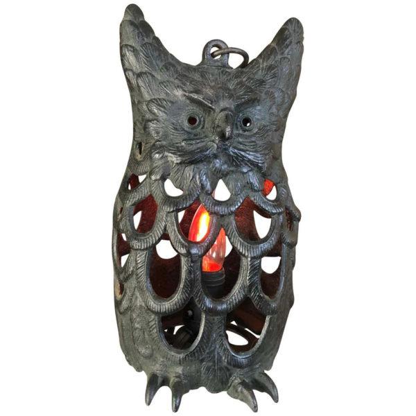 """Japanese Big Old """"Owl"""" Electrified Lighting Lantern, 1930s"""