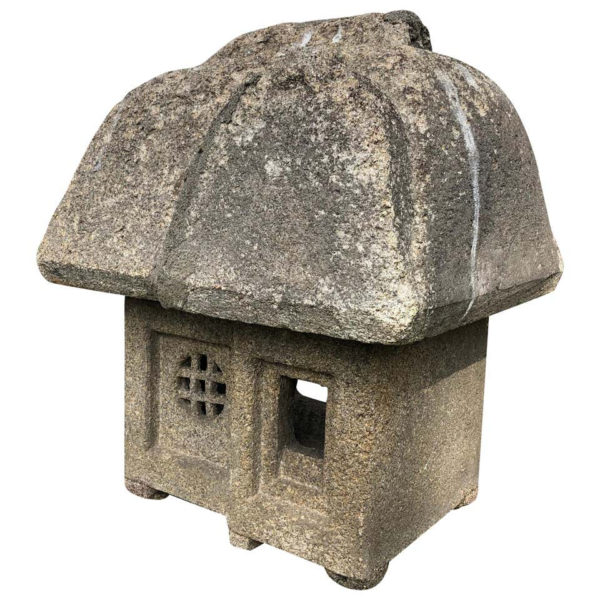 """Japanese Antique """"Mountain House """" Stone Lantern"""