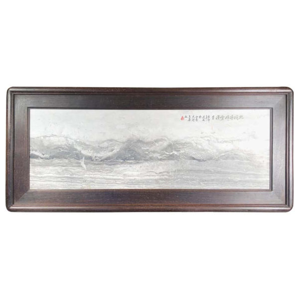"""Gray and White """"Seaside Mountains II"""" Landscape Unique Work of Art, Signed"""