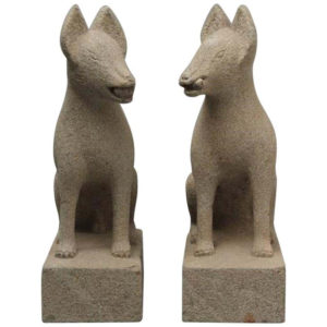 Pair of Hand Carved Stone Fox Kitsune