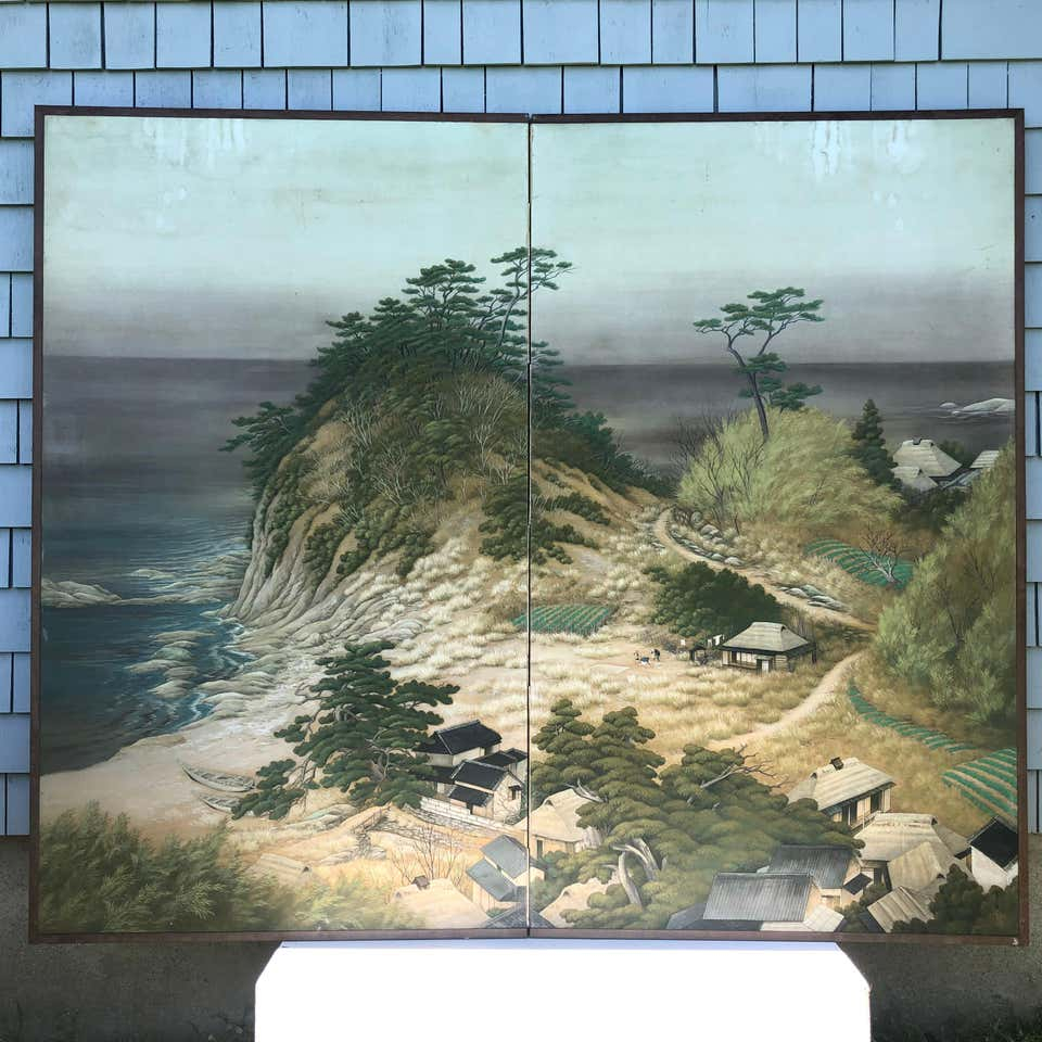 "Japanese Antique Silk Screen ""Beautiful Beach , Boats & Mountains "" Landscape"