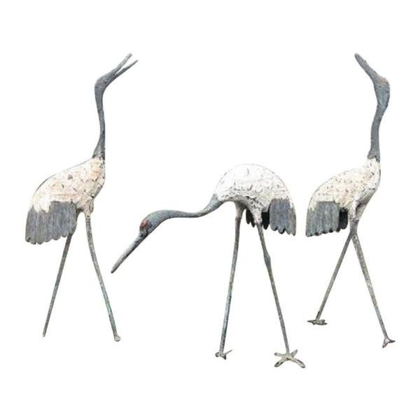 "Japanese Three Hand Cast Bronze ""White Feather"" Cranes"