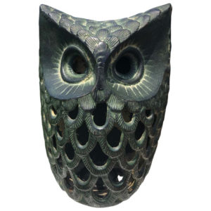 "Japanese Antique Hand Cast ""Owl"" Wall Lantern"