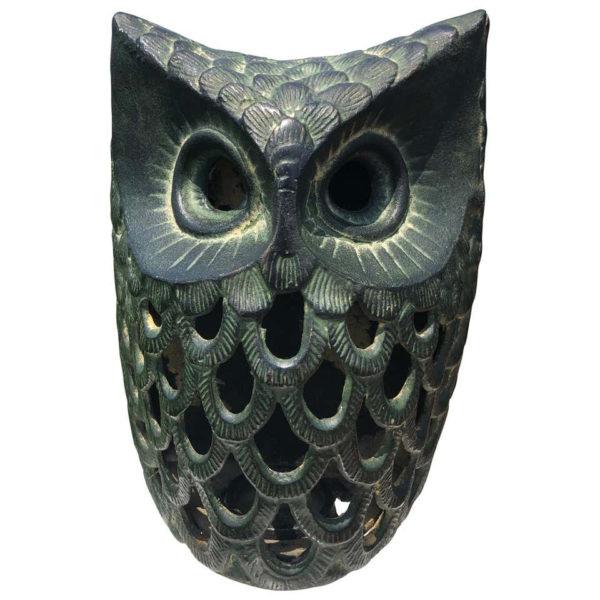 "Japanese Antique Hand Cast ""Owl"" Wall Lantern"