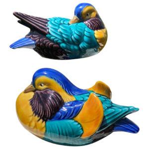 Mandarin Duck Pair, Hand Painted Brilliant Colors