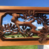 """Japanese Fine Antique Hand Carved """"Flying Crane & Trees"""" Screen"""