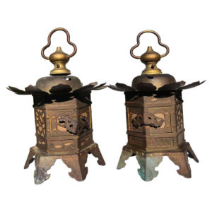 Tea Garden Gilt Lotus Lantern Pair