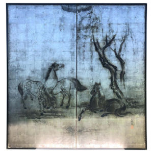 apan Silver Leaf Two-Panel Screen Three Grazing Horses