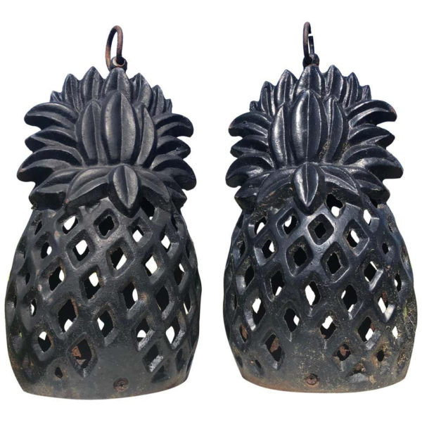 "hand-crafted iron tea garden lanterns in the ""welcoming"" pineapple motif"