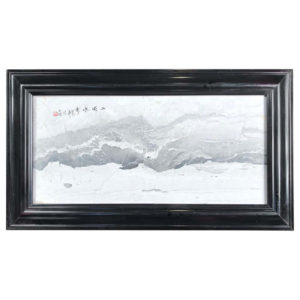 """Seaside & Mountains IV "" Gray and White"" Natural Stone Landscape Painting"