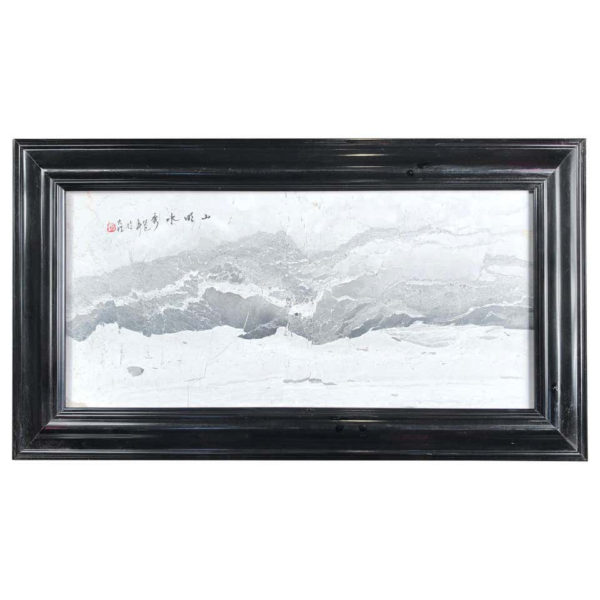 """""""Seaside & Mountains IV """" Gray and White"""" Natural Stone Landscape Painting"""