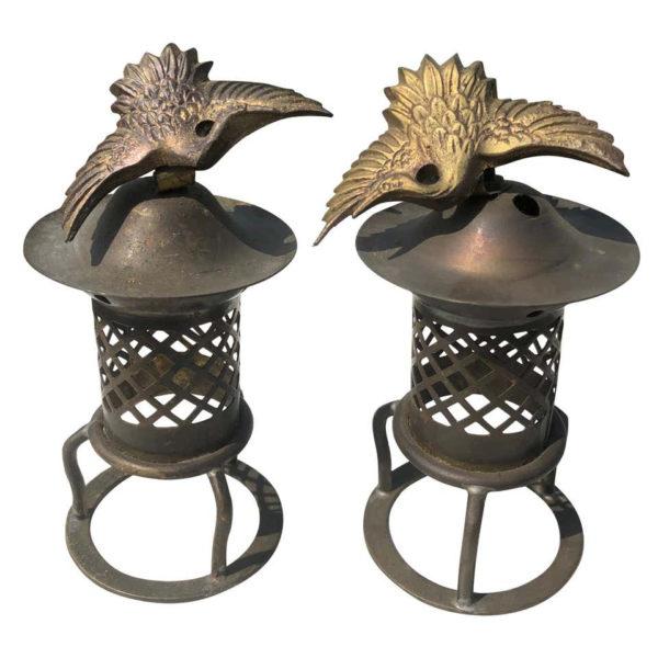 "Pair of Japanese Gilt Bronze ""Cranes"" Tea Light Lanterns"
