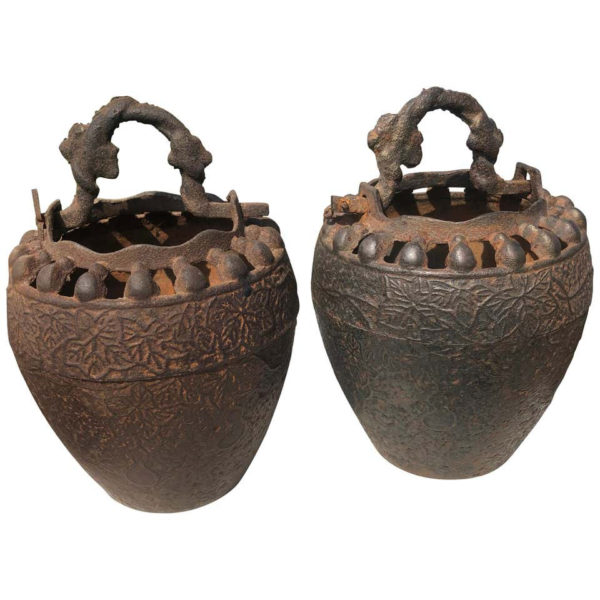 Japanese Pair Antique Iron Root Handled Hanging Flower Vases