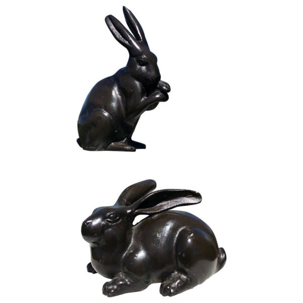 "Fine Pair of Big Bronze ""Chocolate Rabbits"" from Old Japan"