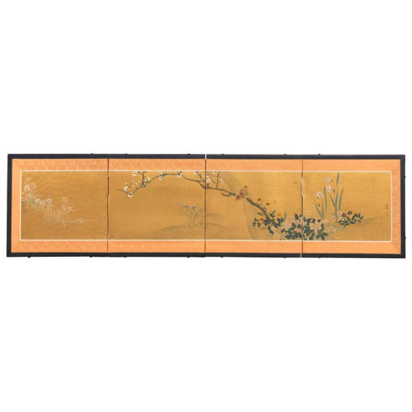 Japanese Fine Antique Birds, Fish, and Flowers Hand Painted Screen