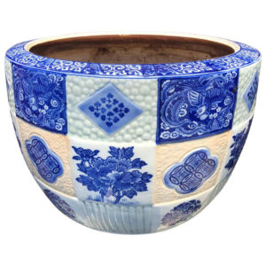 Japanese Antique Big Brilliant Blue Ceramic Planter Bowl
