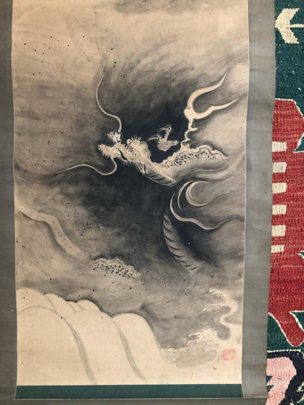 Japanese Antique Flying Dragon Hand Painted Scroll