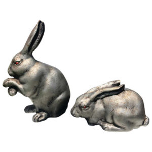 """Big Bronze """"Red Eye Rabbits"""" from Old Japan"""