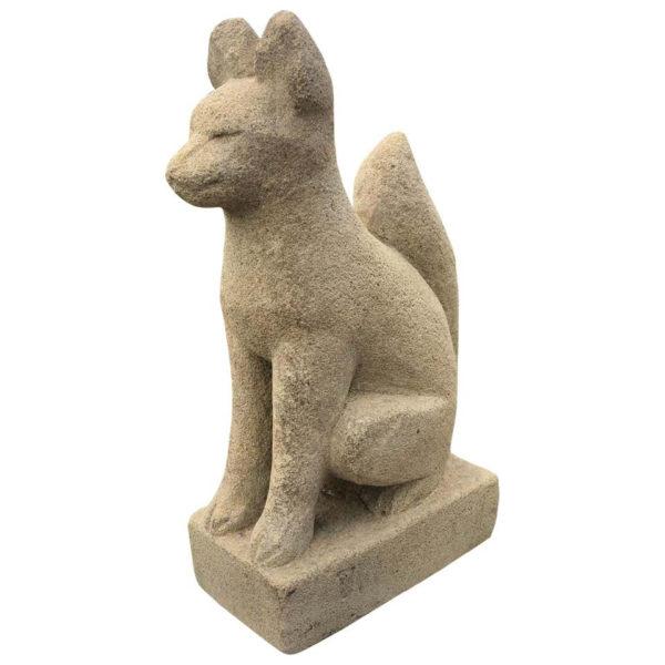 Hand Carved Stone Inari Fox Kitsune, Old Inari Shrine