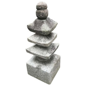 "Japan Antique ""Three Roof"" Pagoda Stone Sculpture"