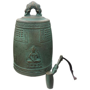 "Antique Hand Cast Bronze Temple Bell ""Flying Angels And Buddha"""